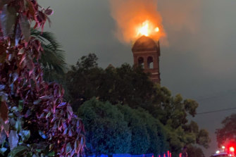 Lightning struck a clock tower on a disused church in Sydney's inner west, prompting a fire to break out.