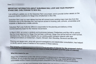 The letter residents received on Monday morning informing them that their property may need to be acquired to build the Suburban Rail Loop