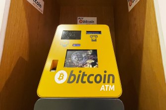 A bitcoin ATM vending machine in the Chatswood Chase shopping mall in Sydney.