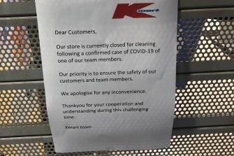 A notice posted on the security shutters at Kmart, Barkly Square in Brunswick on Saturday morning.