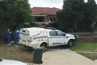 Police at the scene in Woolooware after the woman's death.