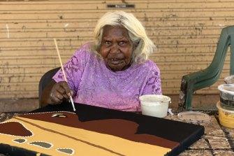 Artist Nancy Nodea is one of several elders who have taken refuge at an outstation near Warmun in the East Kimberley, WA.