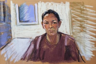 A court sketch of Ghislaine Maxwell appearing via video link in the Manhattan Federal Court on July 14.
