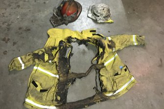The remains of Alex Frew's protection gear after fire ripped through his family's property near Manyana.