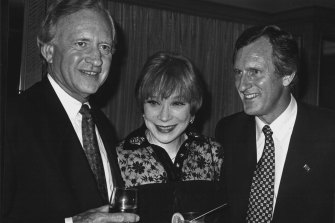 Andrew Peacock, left, with Shirley MacLaine and John Hewson in 1993.