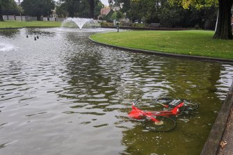 The red Jump bike submerged in a pond in Carlton North.