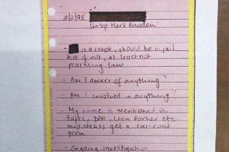 "A note from Nicola Gobbo's 1998 diary, tendered to the royal commission, after she was warned by police that ""mud sticks"" and ""get a raincoat"" when they were trying to get information from her."