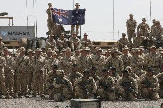 Australian soldiers at `Kamp Holland` Military base in Tarin Kowt, Afghanistan in 2007.