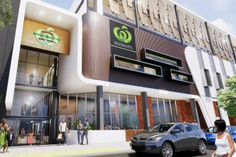 The Murray Street entrance to the proposed West Perth Woolworths complex.