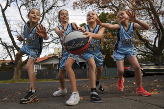Harper, Annabel, Matilda and Alice are gearing up for a return to junior basketball