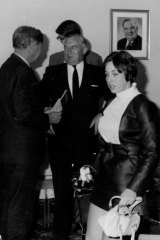 Prime Minister John Gorton (above left) talking to industrial Minister Charles Court on April 18, 1969. Reporter Geraldine Willesee (right), was the '19-year-old girl' mentioned in Mr St John's allegations.