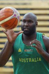 Nathan Jawai at Australian training.