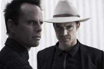 Justified starring Timothy Olyphant and Walton Goggins.