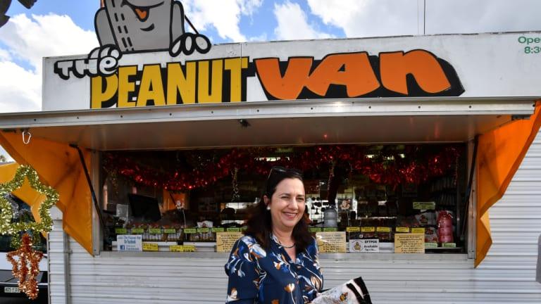 Queensland Premier Annastacia Palaszczuk Kingaroy at the peanut van in Kingaroy.
