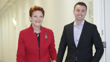 Senator Pauline Hanson with her adviser James Ashby in May.