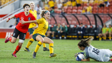 Clean take: Australian goalkeeper Mackenzie Arnold in action during the Cup of Nations against the Korea Republic.
