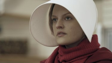 Elizabeth Moss as Offred in the TV series of Margaret Attwood's dystopian novel The Handmaid's Tale.