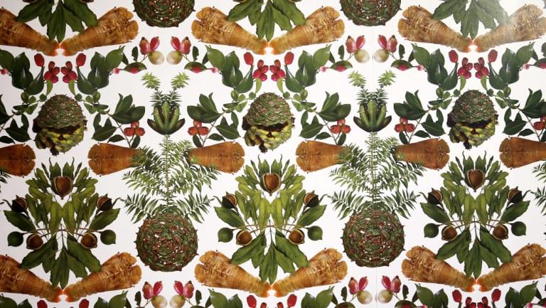 Elizabeth Willing's wallpaper featuring native flora and fauna inside Melbourne Art Fair's Vault Hall.