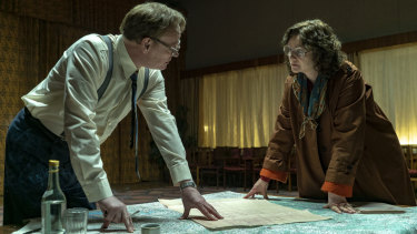 Jared Harris and Emily Watson in Chernobyl, the dramatisation of the 1986 nuclear disaster in the Soviet Union.
