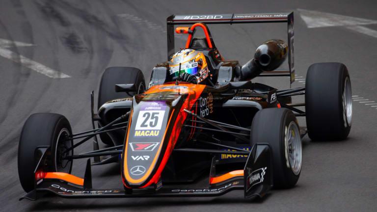 Fracture: German driver Sophia Floersch competing in Macau before her terrifying crash.