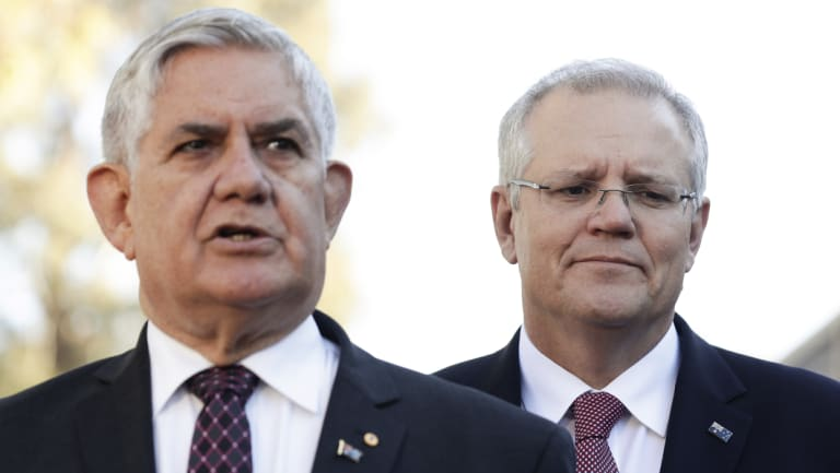 Aged Care Minister Ken Wyatt, alongside Prime Minister Scott Morrison.