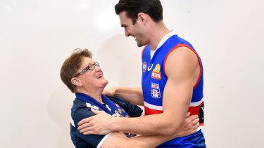 Iconic Bulldogs 'Fightback' era supporter Irene Chatfield with captain Easton Wood.