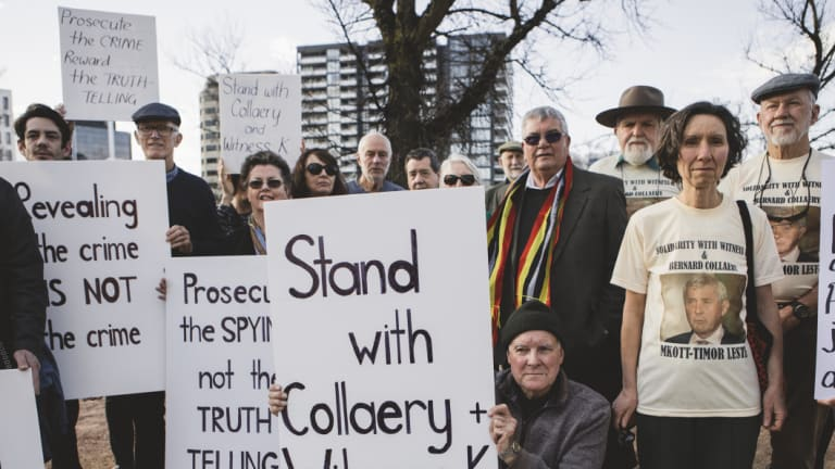 Protesters gather outside the ACT Magistrates Court in support of Witness K and Bernard Collaery.