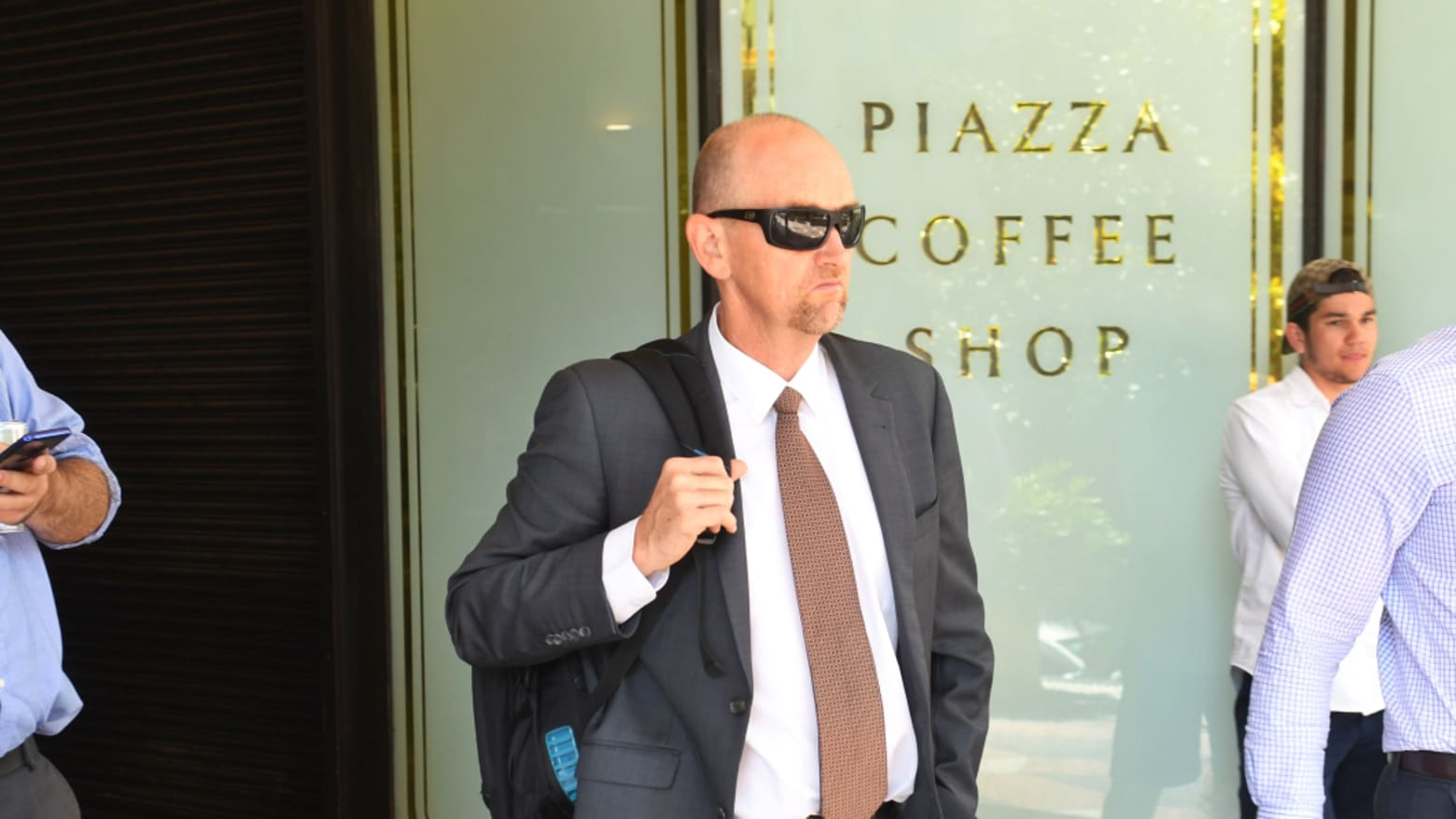 Scott Burrows leaving the Downing Centre on Tuesday.