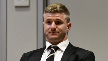 In the dock: Garner arrives at the NRL judiciary on Tuesday night.
