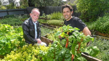 Boxes of plenty: Attica chef Ben Shewry, right, with avid home gardener and cook Alex McDonell at Attica's edible gardens at Ripponlea estate.