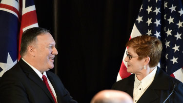US Secretary of State Mike Pompeo and Australian Foreign Affairs Minister Marise Payne in Sydney.