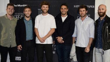 Swans players Luke Parker, Kieren Jack, Dane Rampe, Josh Kennedy, Nick Smith and Jarrad McVeigh at the premiere of The Australian Dream on Tuesday night.
