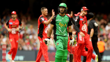 The Renegades celebrate after Glenn Maxwell of the Stars is caught by Mackenzie Harvey of the Renegades.