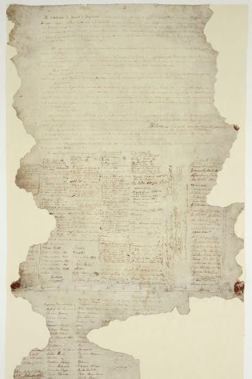 The Waitangi Sheet of the Treaty of Waitangi, signed between the British Crown and various Maori chiefs in 1840.
