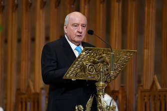 Alan Jones delivers a reading during the funeral mass for John Brennan at St Mary's Cathedral.