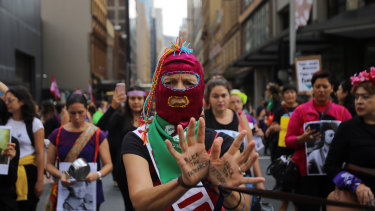 Participants of this year's International Women's Day march in Sydney.