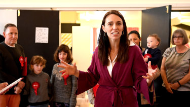 Labour Party leader Jacinda Ardern thanks Labour Party volunteers in Auckland, New Zealand.