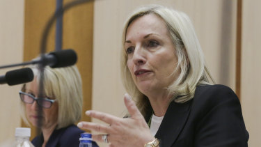 Australia Post's Christine Holgate appearing at Senate estimates.