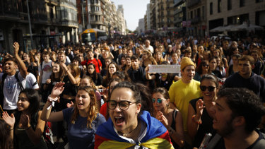 Protesters in Barcelona after the sentencing of Catalan separatists.