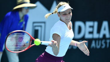 Donna Vekic tunes up for the Australian Open in Adelaide.