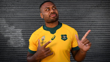 Looking good: Samu Kerevi dons the   gold Wallabies World Cup jersey.