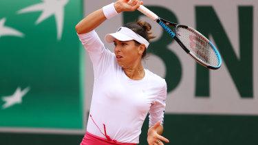Australian Ajla Tomljanovic in action during her loss to Maria Sakkari.