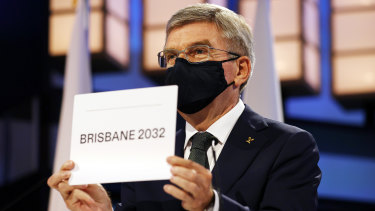 President of the International Olympic Committee Thomas Bach announces Brisbane as the 2032 Summer Olympics host city.