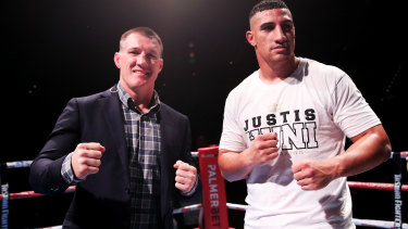 Former NRL star Paul Gallen and Justis Huni go toe to toe in Sydney on June 16.