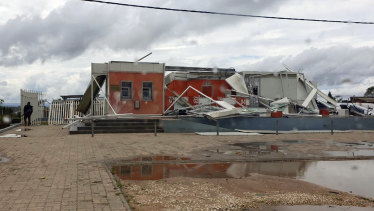Buildings damaged after Cyclone Kenneth made landfall in Pemba, Mozambique.