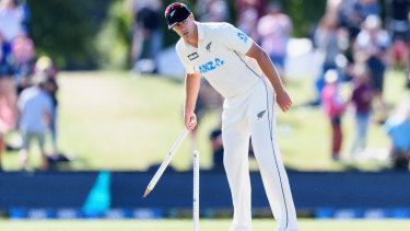 Jamieson takes the stumps after the historic series win that took New Zealand to the top of the Test rankings.