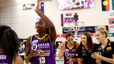 Crowd favourite: Ezi Magbegor celebrates after the Boomers' win over Canberra.