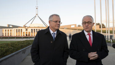 Scott Morrison and Malcolm Turnbull outside Parliament House earlier this year.