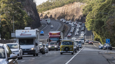 Heavy traffic on M1, Berowra south bound after long weekend.