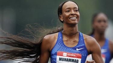 Record breaker: Dalilah Muhammad wins the women's 400-meter hurdles at the US Championships athletics meet.